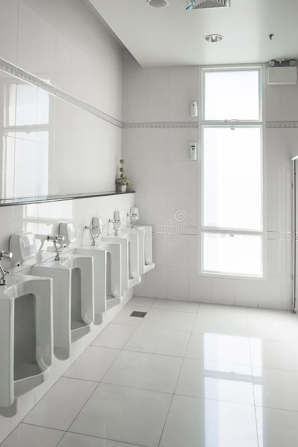 Download White Urinals In Clean Men Public Toilet Room Empty Stock Image