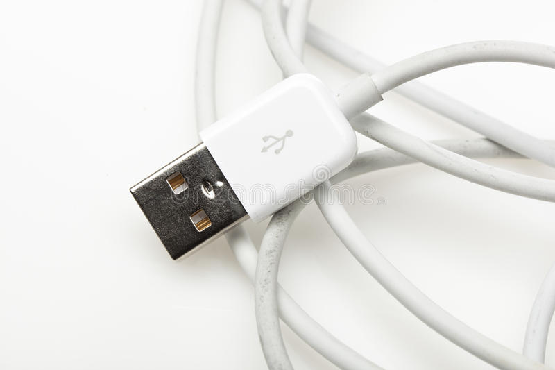 A white USB cable royalty free stock photo