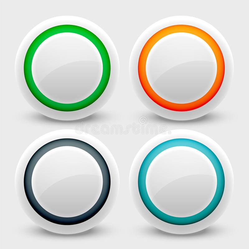 White user interface buttons set vector illustration