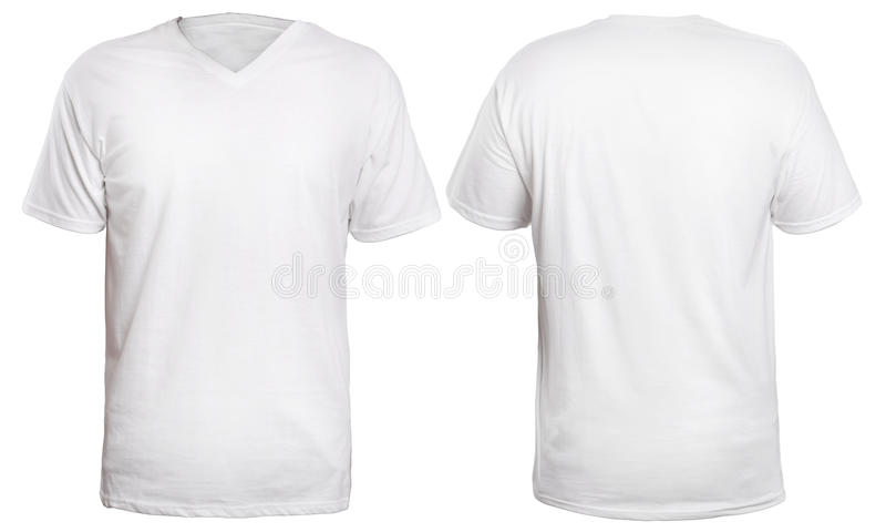 White Neck Shirt Mock Up Blank Template Front Back View Isolated Plain Mockup Tee Design Presentation Download Kaos Depan Belakang