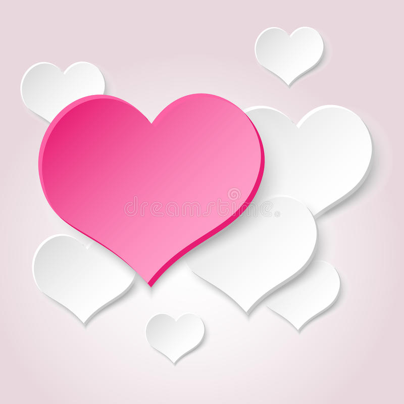 Free White Valentine Hearths From Paper And One Big Pink Heart Eps10 Royalty Free Stock Photography - 85343457