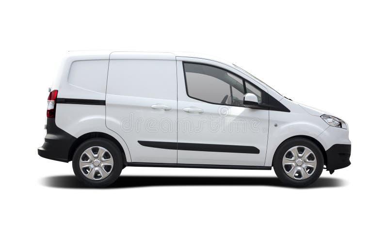 White van Ford Transit αγγελιαφόρος που απομονώνεται στο λευκό στοκ εικόνα με δικαίωμα ελεύθερης χρήσης