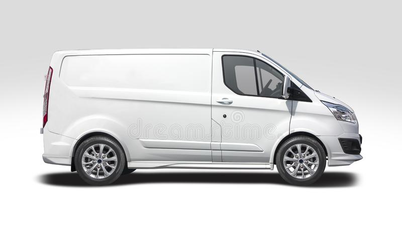White van Ford Transit Custom isolated on white royalty free stock photography
