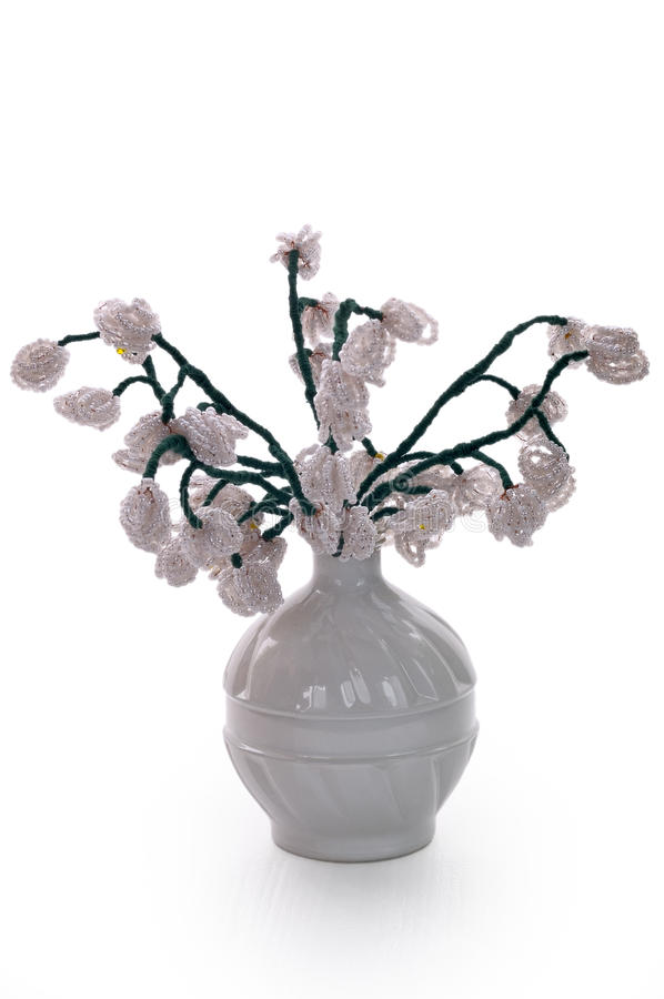 White Vase With Flowers From Glass Beads And Wire Stock Image