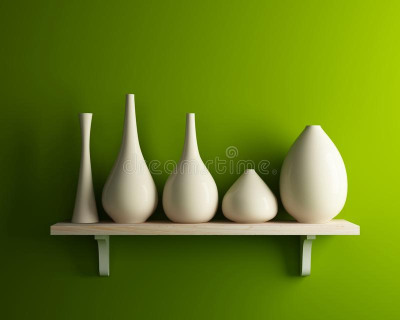 White vase on wood shelf with green wall stock illustration