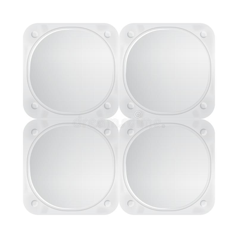 White vector foil lid for yogurt, dessert or cream. Pack of four rounded square form. Top view of packaging mockup vector illustration