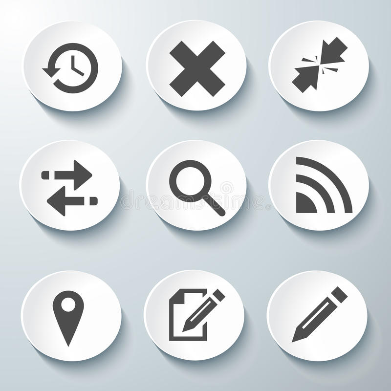White Vector Icons Set Stock Images
