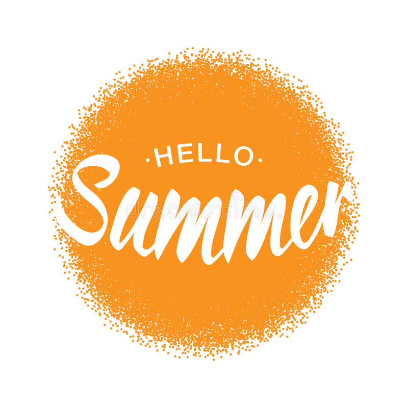 White Vector Lettering Hello Summer with orange sun halftone circle isolated on white background. royalty free illustration