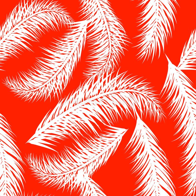 White vector palm treeson the coral background. Hand drawn seamless pattern. Summer tropical palm tree leaves seamless stock illustration