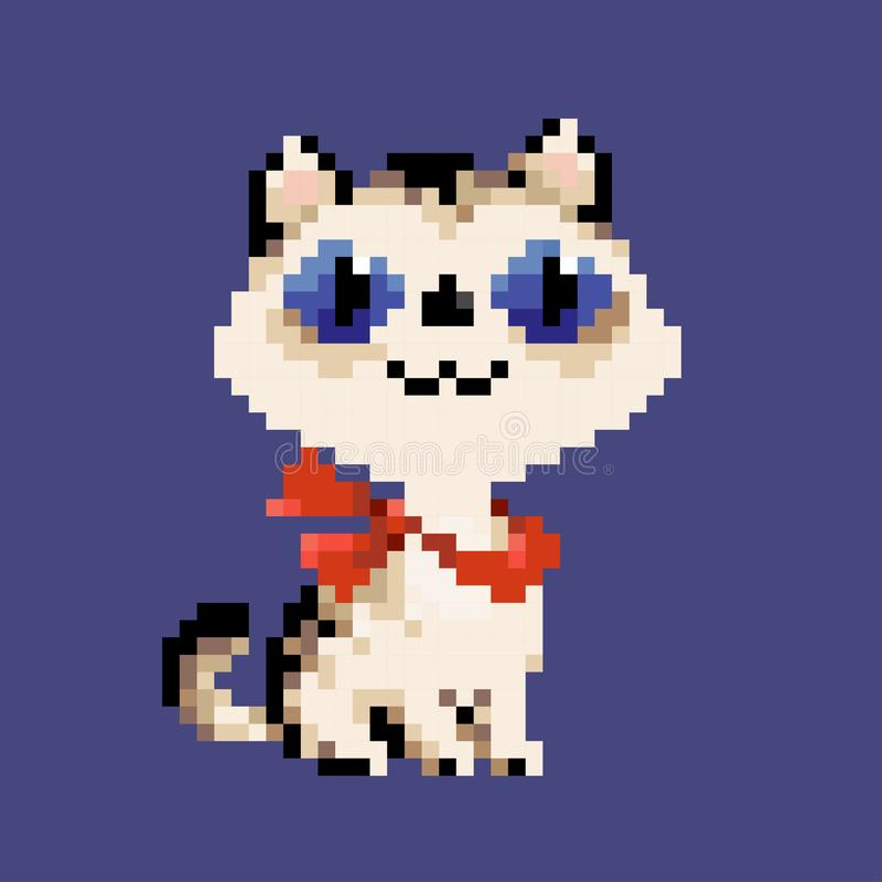White vector pixel art cat in red scarf stock illustration