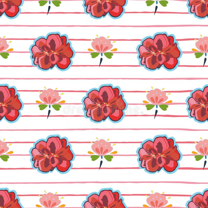 White pattern with flower, folk floral and stripe. vector illustration