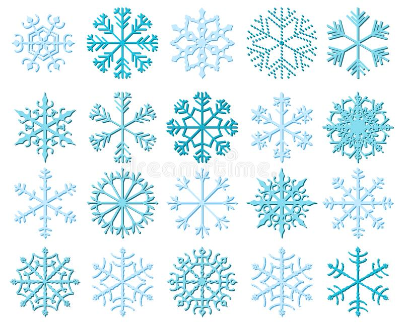 White vector snowflakes with shadows stock illustration
