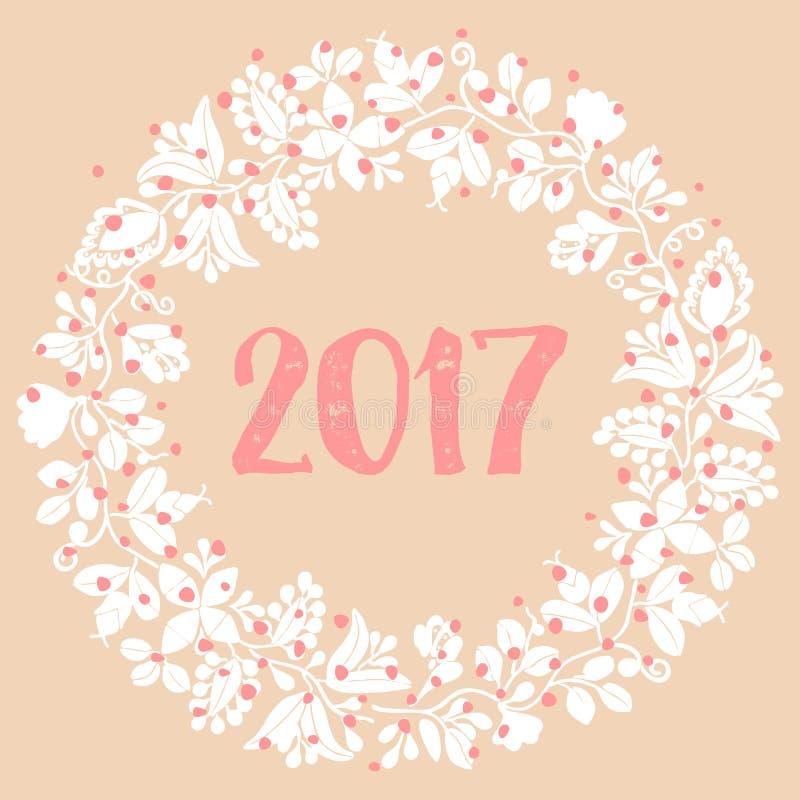 2017 white vector wreath on pastel background vector illustration