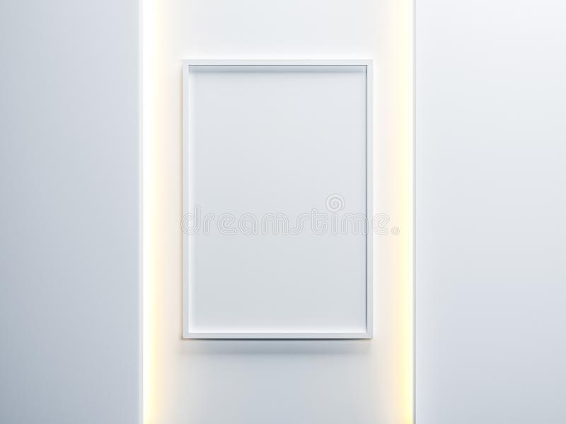 White vertical Poster canvas with Frame Mockup hanging on the wall with ambient light illumination. 3d rendering royalty free illustration