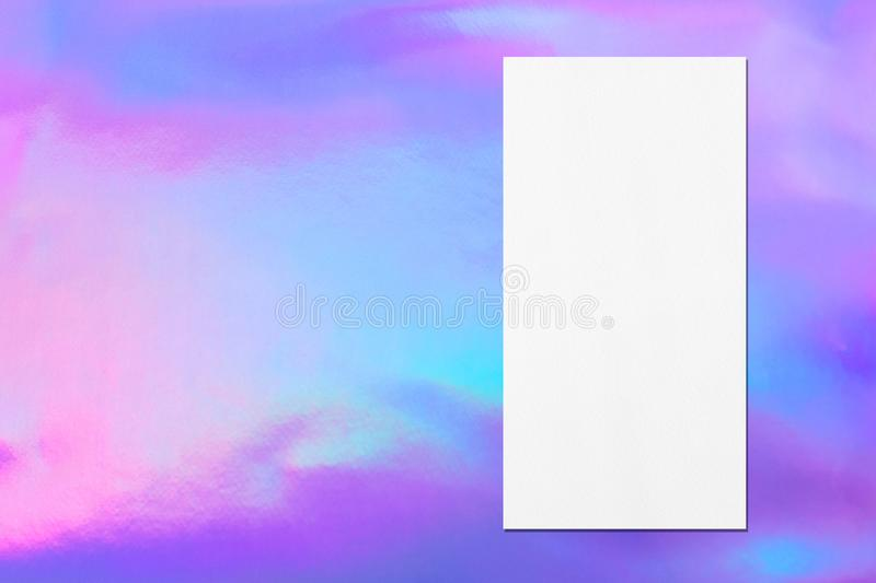 White vertical rectangle price-list or menu mockup on holographic background. Empty white vertical rectangle price-list or menu mockup with soft shadows on royalty free stock photo