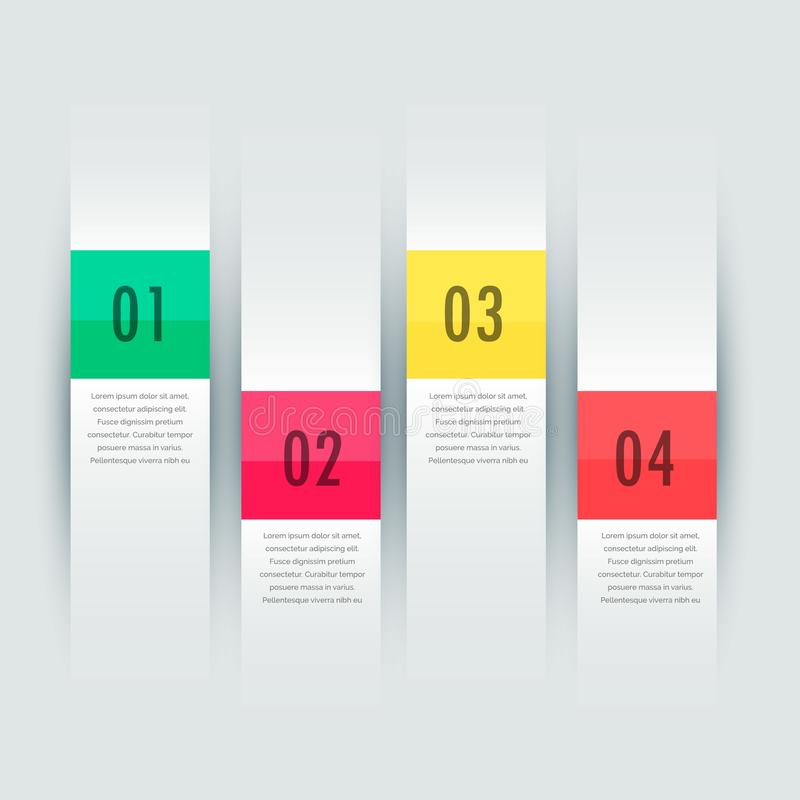 White vertical stripes four steps infographic presentation template royalty free illustration