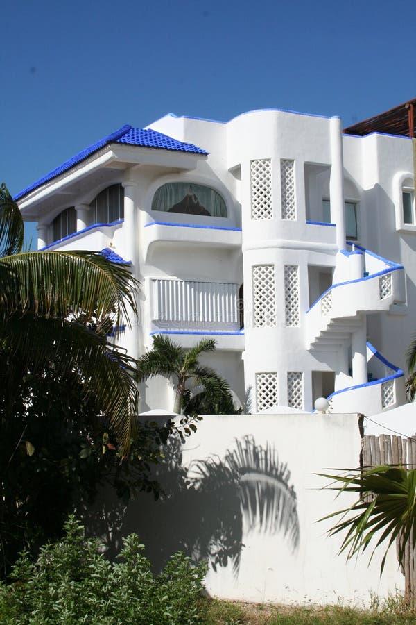 White Villa at Playa del Carmen - Mexico royalty free stock photography