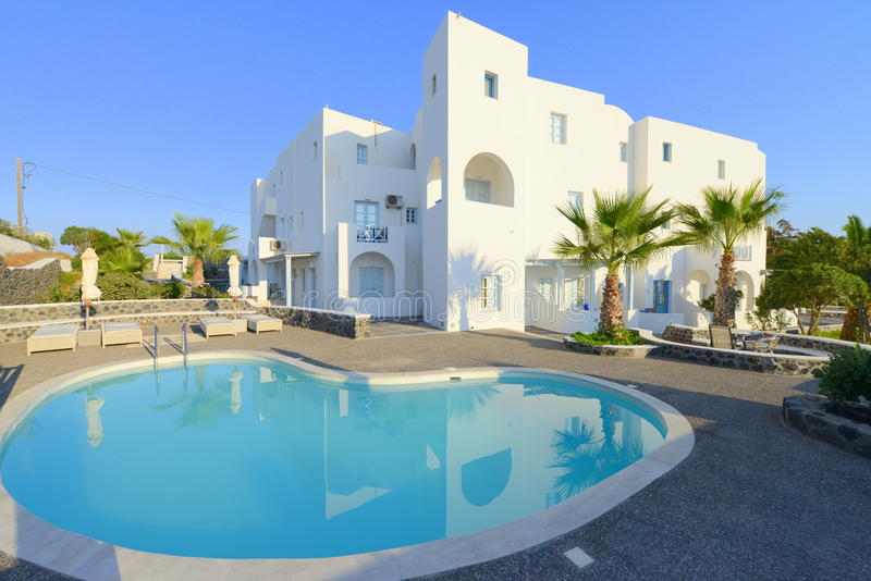 White villa with private pool royalty free stock photos