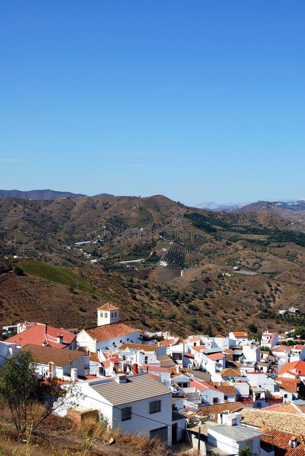 White village, Iznate, Spain. View of whitewashed village and surrounding countryside, Iznate, Costa del Sol, Malaga Province, Andalucia, Spain stock image