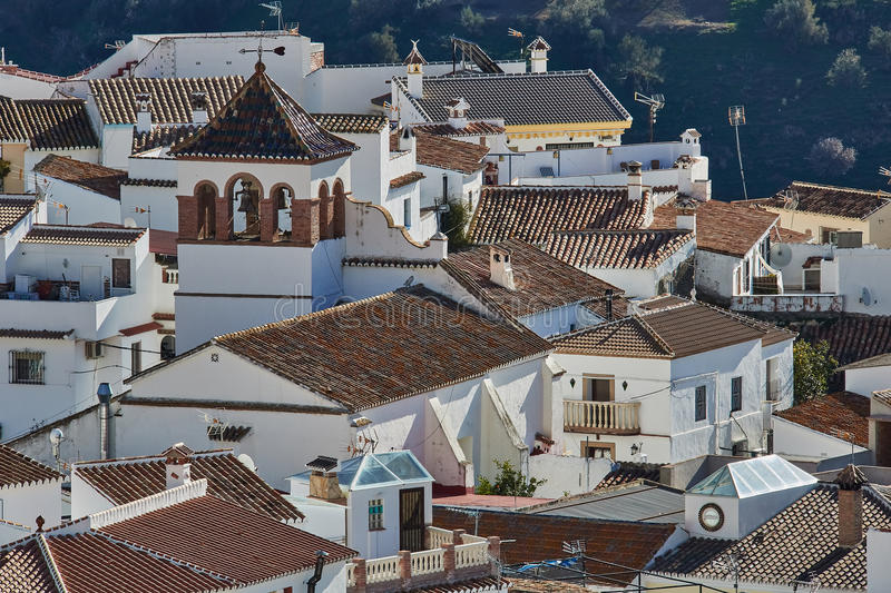 White Village of Moclinejo in Malaga, Spain. Moclinejo is a town and municipality in the province of Málaga, part of the autonomous community of Andalusia in stock photos