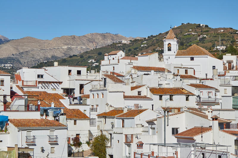 White Village of Sayalonga in Malaga, Spain. Sayalonga is a town and municipality in the province of Málaga, part of the autonomous community of Andalusia in royalty free stock images