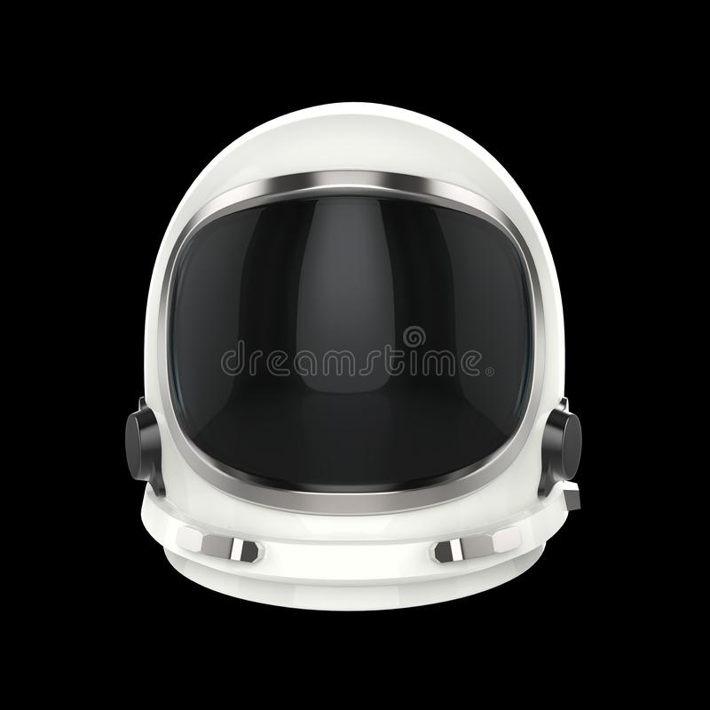 White vintage astronaut helmet - isolated on black background vector illustration