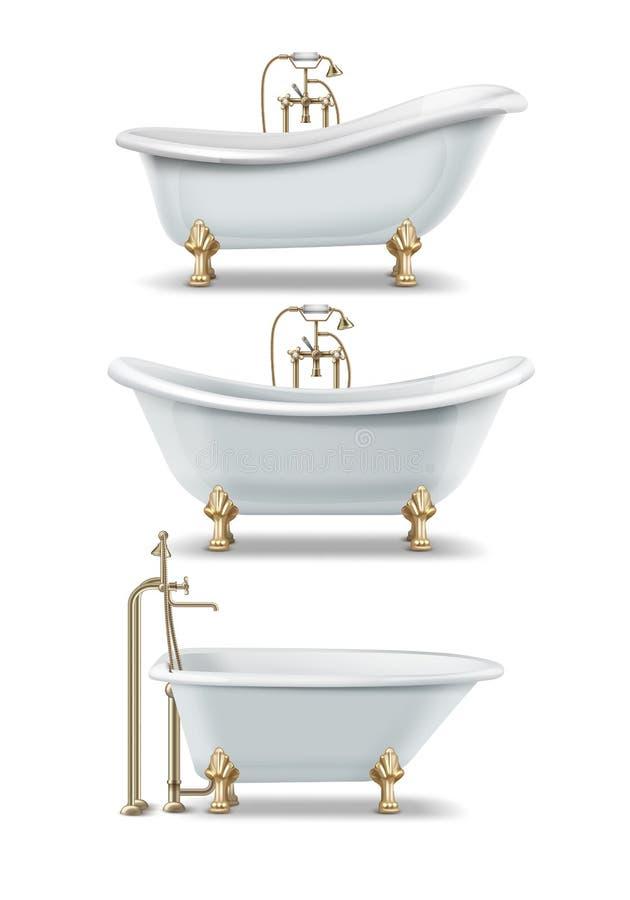 Download White Vintage Bathtubs Stock Vector. Illustration Of Flat    115684149