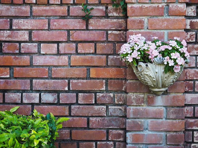White vintage flowerpot hanging on old brick wall background royalty free stock image