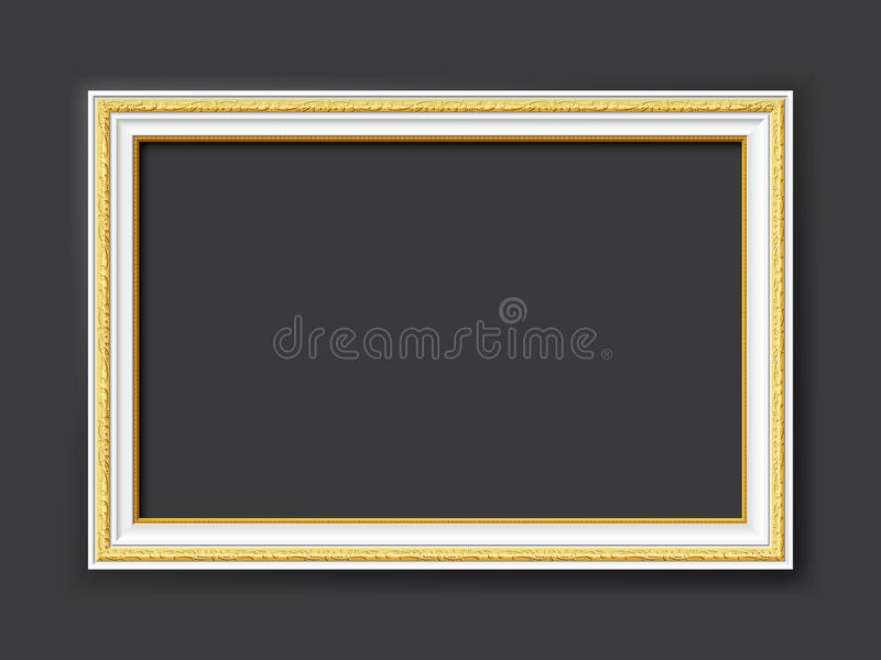 White vintage style vector frame with gold applications isolated on dark gray background royalty free stock photos