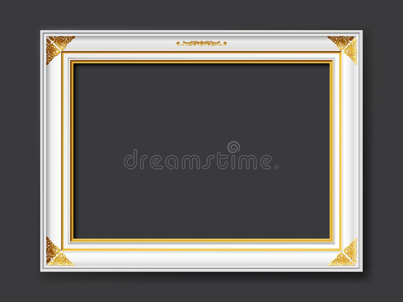 White vintage style vector frame with gold applications isolated on dark gray background royalty free stock images