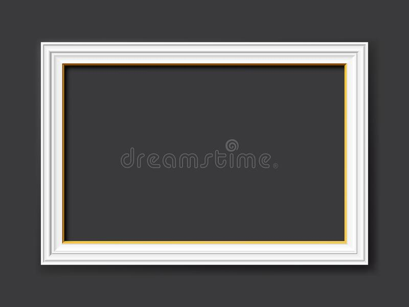 White vintage style vector frame with gold applications isolated on dark gray background stock photography