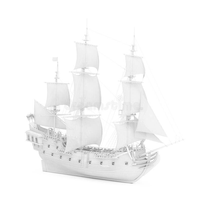 Free White Vintage Tall Sailing Ship, Caravel, Pirate Ship Or Warship In Clay Render Style. 3d Rendering Royalty Free Stock Image - 214327646