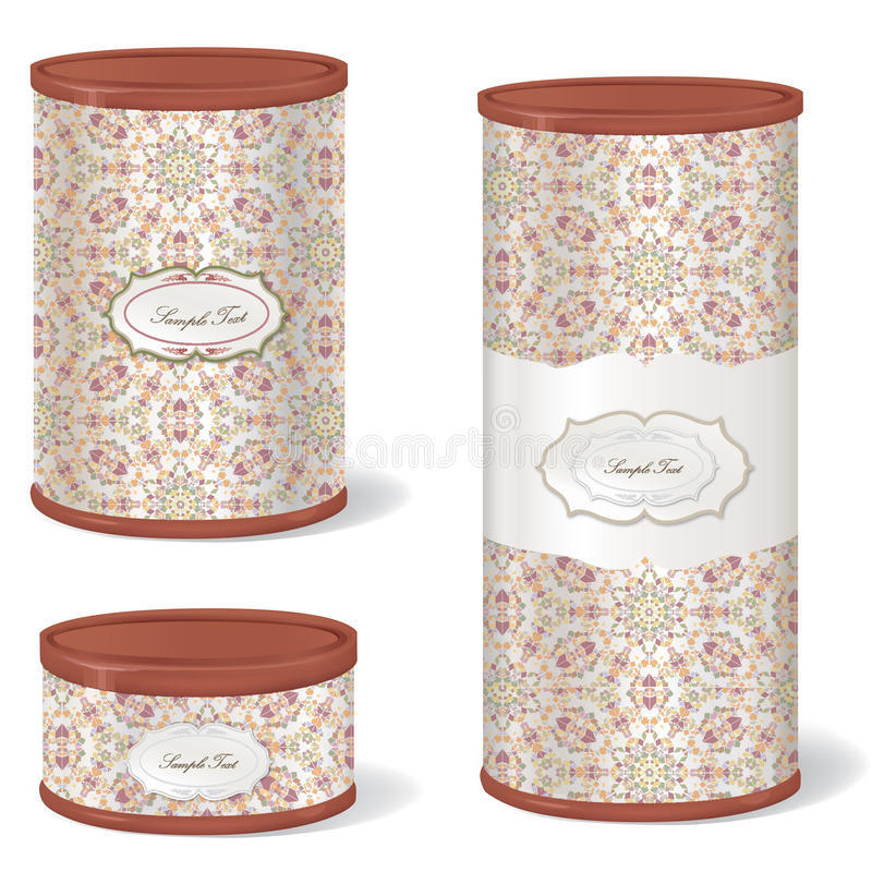 White Vintage Tincan set. Stylish retro pack container collection. Metal Tin Can. Retro Canned Food. Product Packing royalty free illustration