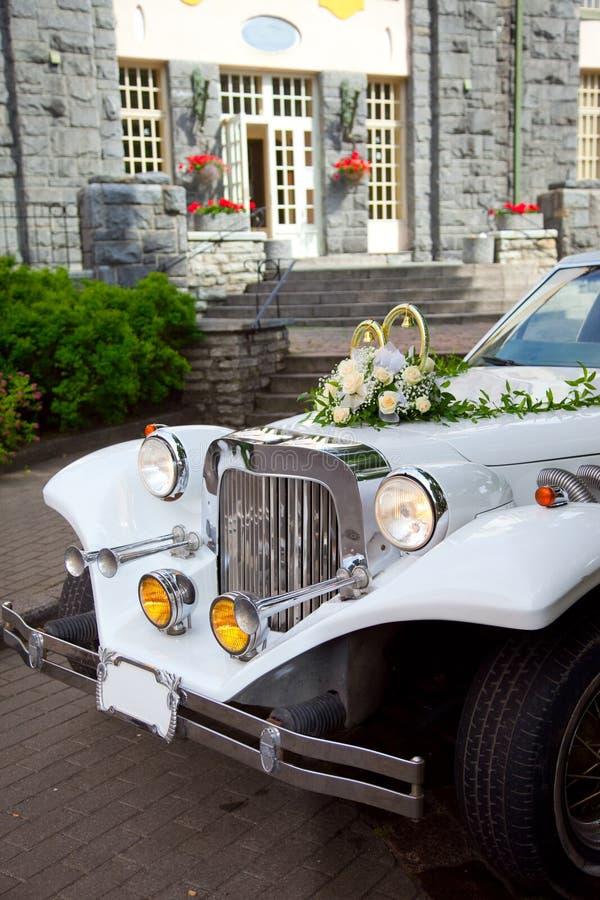 Download White vintage wedding car stock photo. Image of decoration - 21120410
