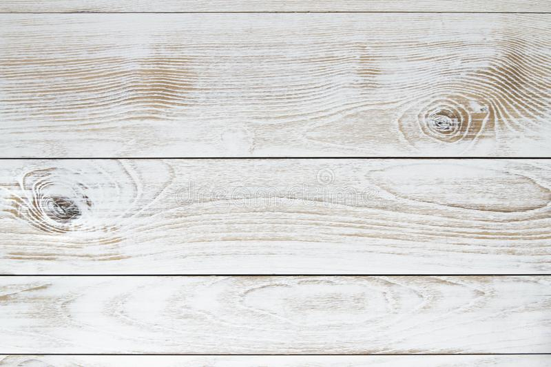 White vintage wood texture background. Top view on empty white vintage wood texture background stock image