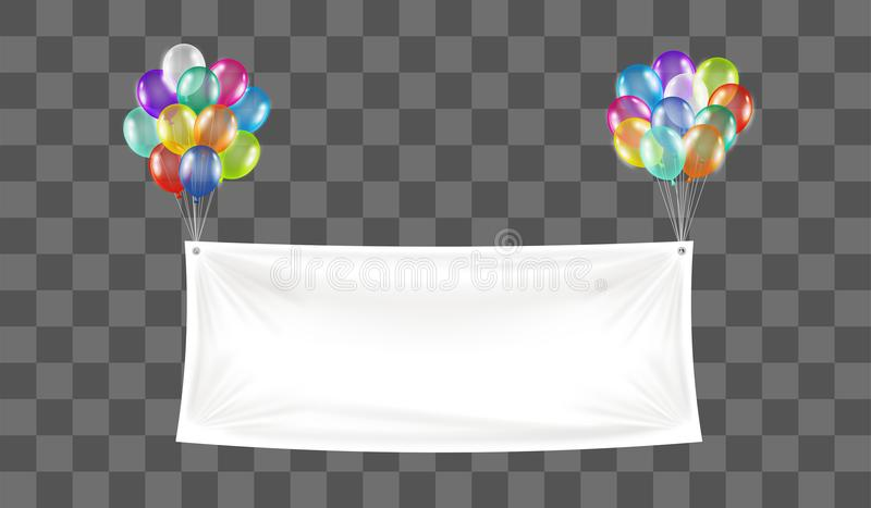 White vinyl banner floating with colorful balloon vector illustration