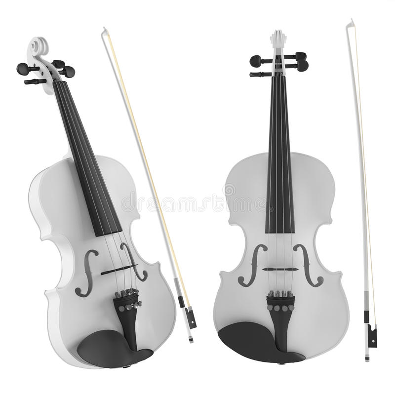 Download White Violin Isolated. Two Angles Of View Stock Illustration - Image: 36257389