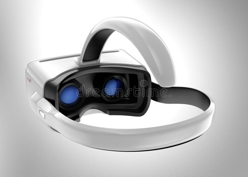 White VR headset isolated on gray background. royalty free stock photo