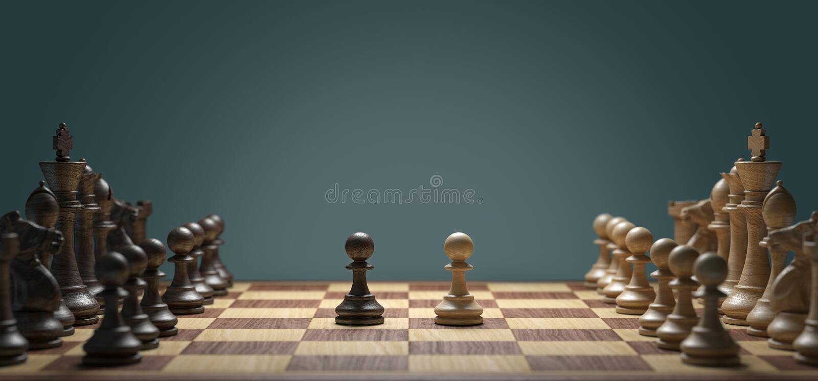 Pawn Face Off In Chess Game. An army of chess players with pawns of the opposing sides facing each other vector illustration