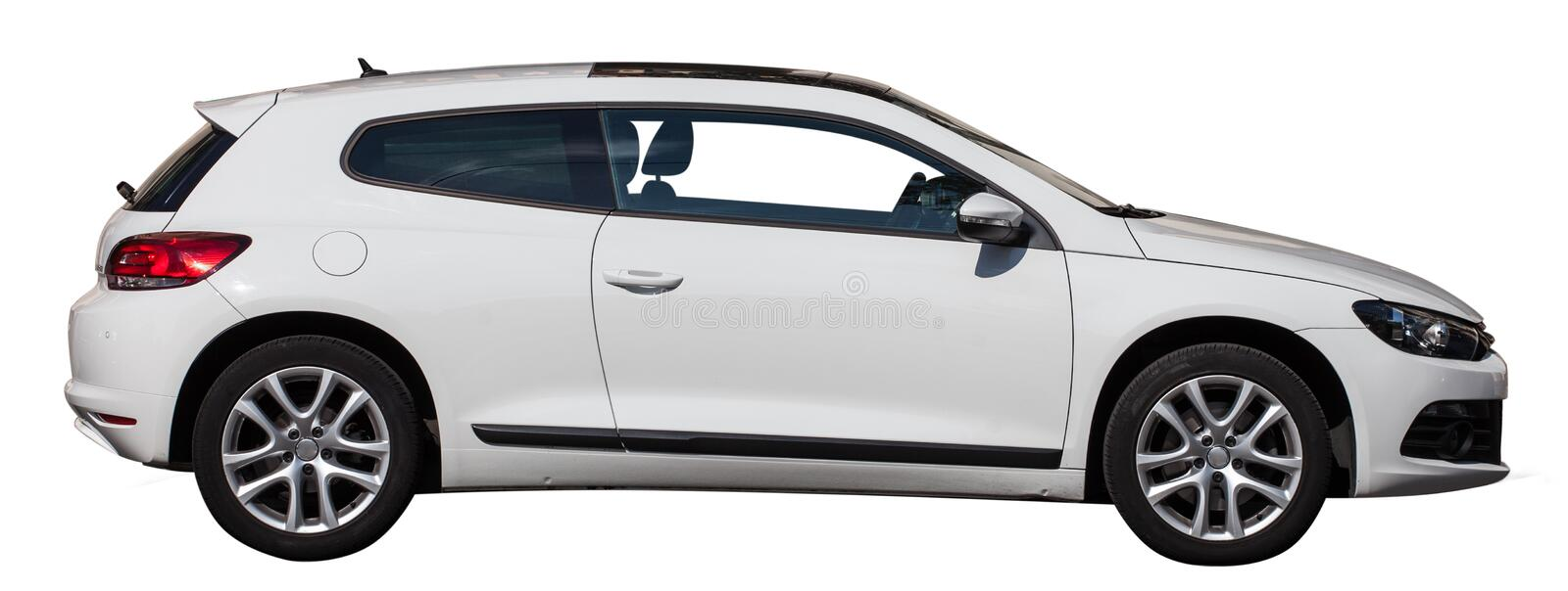 White VW scirocco on a transparent background. White car on a transparent background. Car from the background. White car on a white background. sport car stock photography