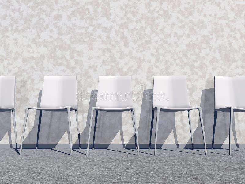 White waiting room - 3D render stock illustration