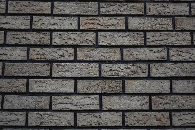 white wall of bricks with a gray tint brick background royalty free stock images