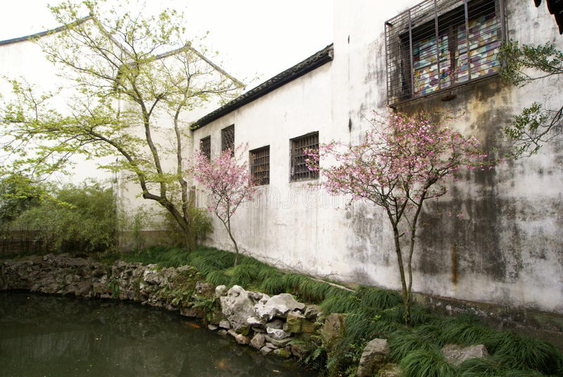 White Wall of Chinese Garden in Suzhou stock images