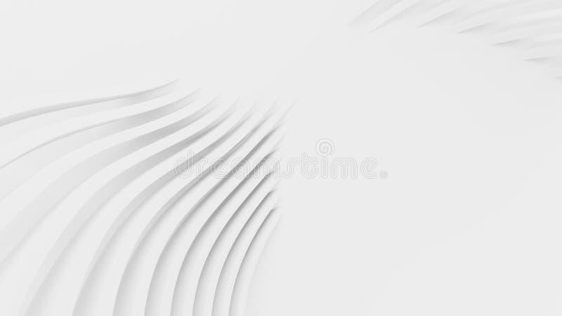 White wall design Architecture details Geometric Pattern 抽象的墙纸,线条 三维渲染 库存例证