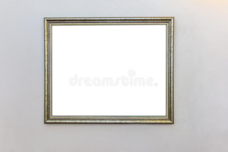 White wall with modern picture frame stock photography