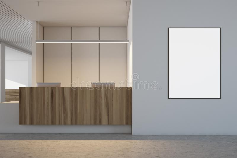 White and wooden office interior, reception poster royalty free stock images