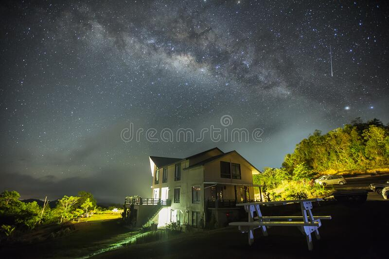 White Wall Paint House Under the Dark Sky With Stars royalty free stock image