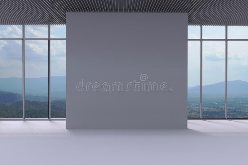 White Wall and panoramic window background in the space. / blank wall comfortable Space And flooring vector illustration