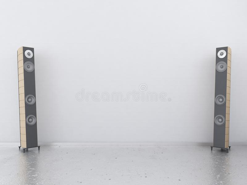 White Wall With Sound Speakers Stock Image