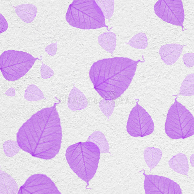 White wall texture with purple leaf paint. For background royalty free illustration
